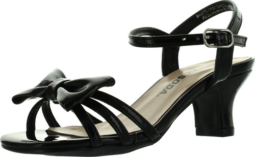 Soda Girls Girly-2 Metallic Glitter Open Toe Bow Slingback Small Block Heel Sandals