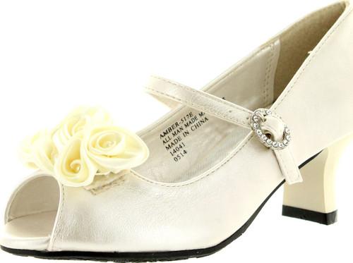 Little Angel Girls Amber-517E Fabric Chiffon Floral Decor Peep Toe Mary Jane Kitty Heel Pumps