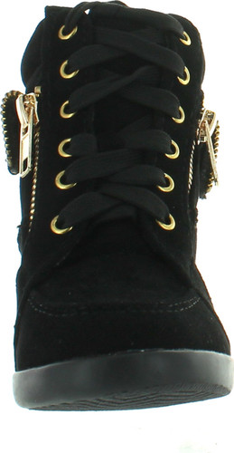 Peter Gladys24 Kids Black Fashion Leatherette Suede Lace-Up High Top Wedge Sneaker Bootie