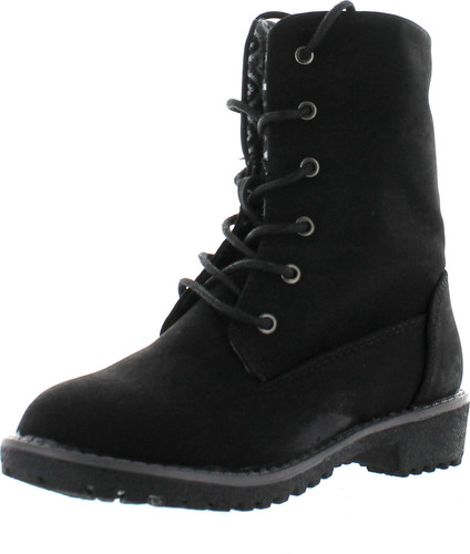 Bella Marie Newyork-28K Girl Kids Girls Youth Fold Over Combat Print Boots Synthetic Shoes
