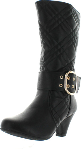 Lucky Top Cookie-1K Children Girl's Quilted Buckle Mid Heel Knee High Riding Boots