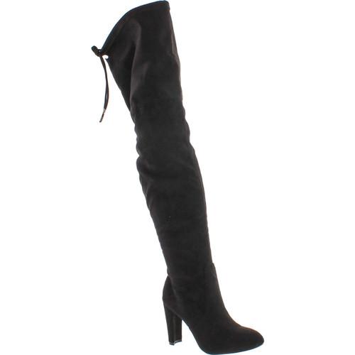 Cape Robbin Kylie-1 Women's Drawstring Block Heel Stretchy Snug Fit Thigh High Boots
