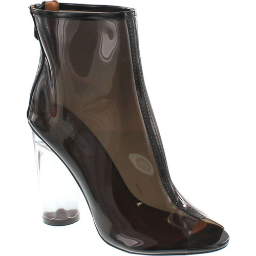 Cape Robbin Benny-1 Open Toe Block Chunky Clear Perspex Heel Ankle Boot Bootie