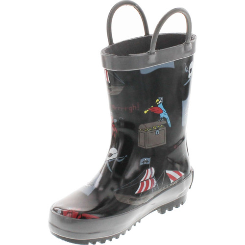Foxfire For Kids 600-94 Black Rubber Boot With Pirate Theme