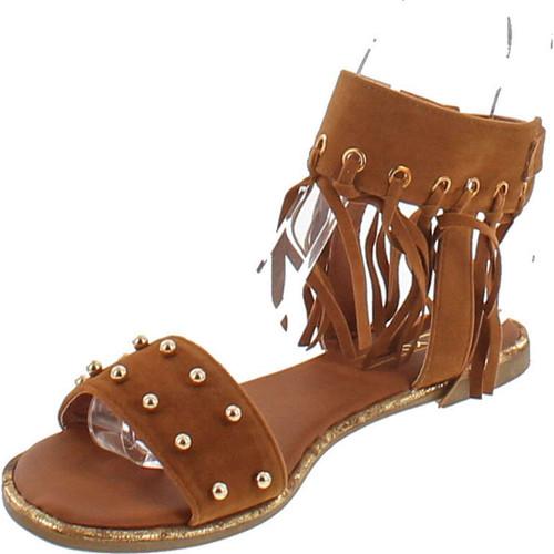 Yoki Acacia-47 Micro Fabric Women's Flat Sandal With Studs & Fringe