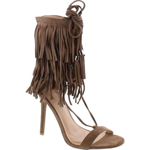 Adele-221 Open Toe Layered Fringe Corset Tassel Lace Up Stiletto Heels