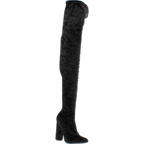 Cape Robbin Paw-27 Crushed Velvet Stretchy Pointy Toe Thigh High Over Knee Block Heel Boot Black