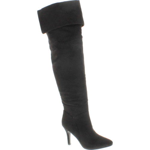 Forever Womens Alexia Pointed Toe Over The Knee Thigh High Stiletto Slouchy Boot Shoes