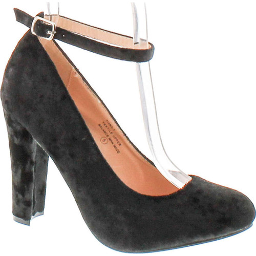 Chase & Chloe Tiana-1 Women's Round Toe Chunky Heel Ankles Strap Suede Pumps Shoes