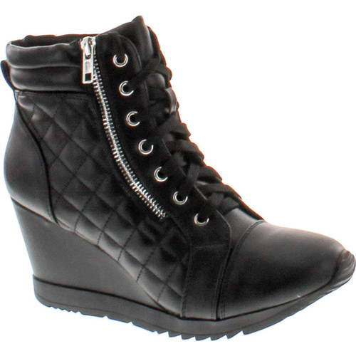Forever Adriana12 Women Sporty Leatherette Lace-Up High Top Wedge Sneaker Bootie Shoes