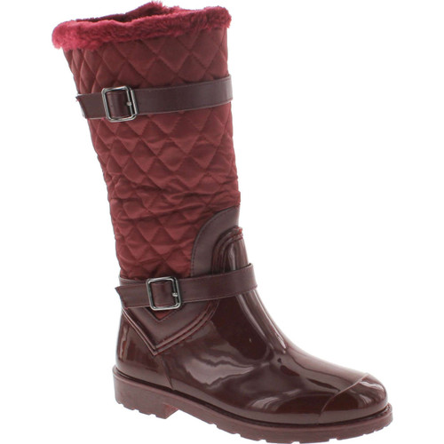 Bamboo Stormy-02 Mid Calf Quilted Faux Fur Lined Shaft Zip Up Rain Boots