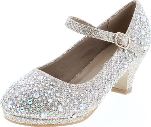 Forever Dana-58K Kids Mid Heel Rhinestone Pretty Sandal Mary Jane Platform Dress Pumps