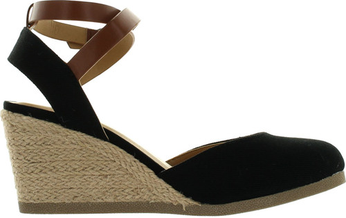 Soda Womens Request Closed Toe Espadrille Wedge Sandal In Black Dark Tan Linen