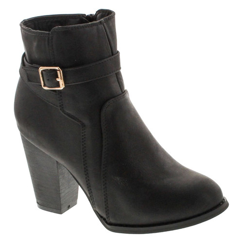 Top Moda Demo-6 Women's Buckle Chunky Stacked Heel Ankle Booties
