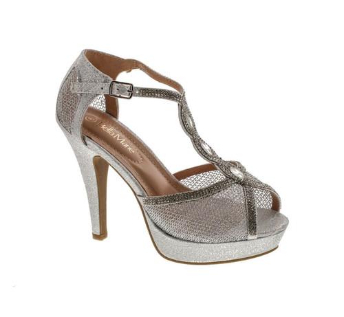 Bella Marie Womens Ridge Metallic Dress Sandals Pumps