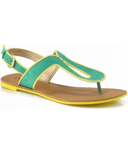 Qupid Athena-553A Colorblock Slingback Thong Flat Sandal