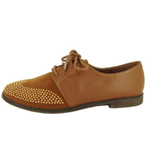 Qupid Strip-85 Studded Two Tone Lace Up Colorblock Oxford Flat