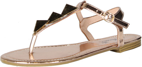 Anna Womens Avery Triangle Accent T-Strap Ankle Strap Flat Thong Sandal