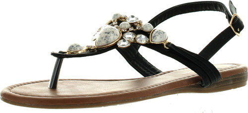 Top Moda Cb-6 Womens T-Strap Slim Strap Gemstone Buckle Flats Sandals