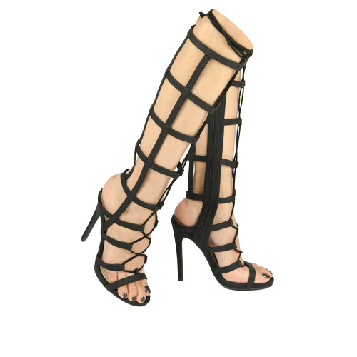 Qupid Womens Glee-237 Gladiator Heel Sandals Black