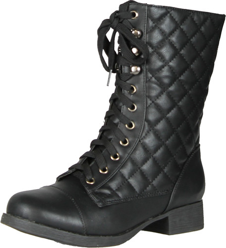 Bamboo Fighter-16 Women's Quilted Military Lace Up Mid Calf Boots