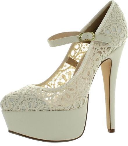 Anne Michelle Womens Realove07 Lace Crochet Mary Jane Stiletto Heel Platform Dress Pumps