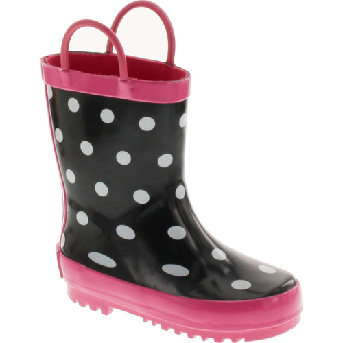 Foxfire For Kids Black & White Rubber Boots With Polka Dots