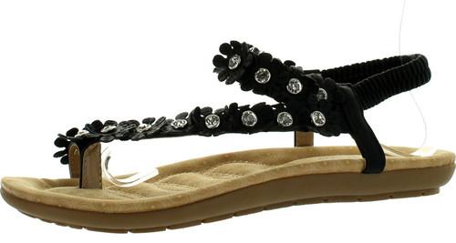 Forever Calista68 Womens Petal Rhinestone Flower Ankle Strap Slingback Thong Sandals