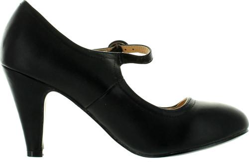 Static Footwear Kimmy-21 Women's Round Toe Pierced Mid Heel Mary Jane Style Dress Pumps