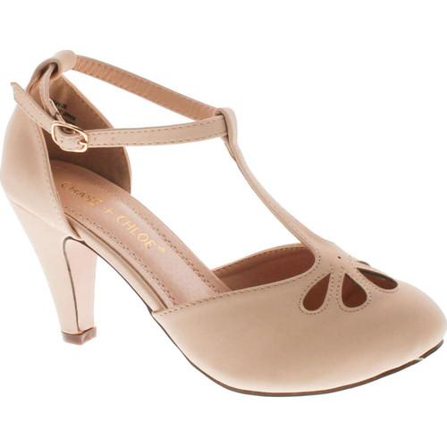 Static Footwear Kimmy-36 Women's Teardrop Cut Out T-Strap Mid Heel Dress Pumps