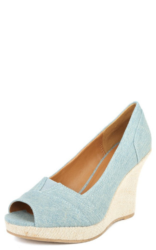 Qupid Talen-265 Designer Inspired Peep Toe Canvas Wedge Heel Sandals