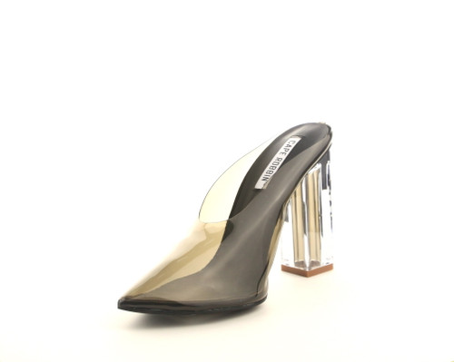 Cape Robbin Atom Women's Lucite Clear Block Chunky High Heel Closed Toe Open Back Slide Sandal