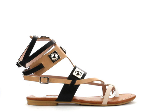 Cape Robbin Womens Open Toe Strappy Ankle Cuff Colorblock Hardware Gladiator Flat Sandals