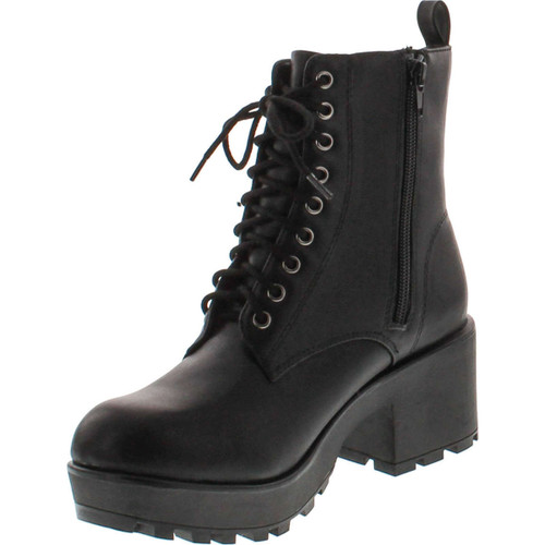 Soda Women's Magpie Faux Leather Lace-Up Combat Mid Heel Military Ankle Boots