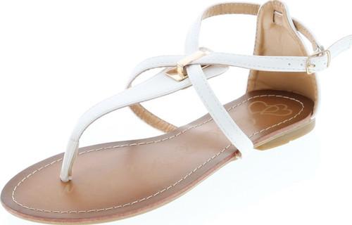 Elegant Footwear Women's Mariza-9 T-Strap Thong Flat Sandals