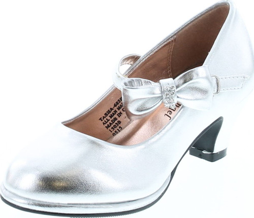 Little Angel Tasha-685E Glitter Bow Mary Jane Pump - Silver