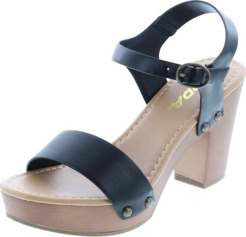 Soda Women's Bold Buckles Studded Wedge Sandal