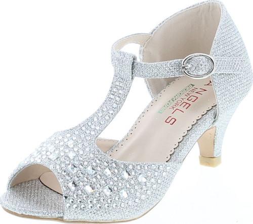 Angels New York Girls Glitter & Stone Sandal With Memory Foam Insole