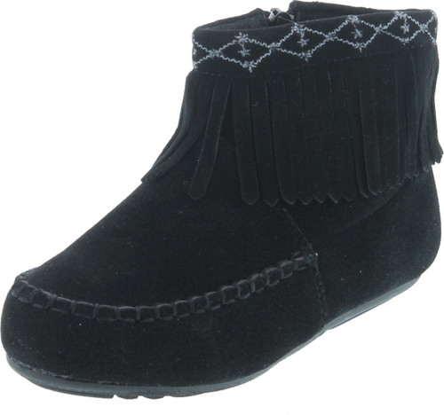 Betani Denise-5 Girl's Kids Embroidered Fringe Mocassin Low Heel Ankle Booties