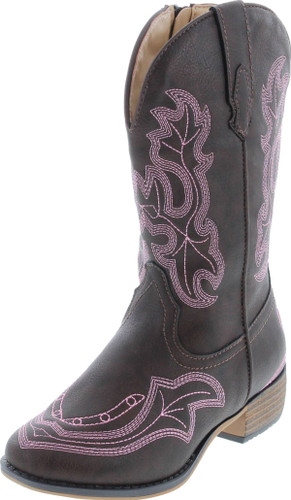 Betani Ebony Girl's Kids Western Embroidered Mid Calf Cowgirl Block Heel Boots