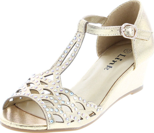 Blaze04 Kids Rhinestone Peep Toe Cut Out Ankle Strap Wedge Dress Sandal Shoes