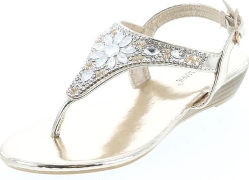 Anna Marie Serena 10K Little Girls Gladiator Floral Rhinestone Low Heel Flat Sandals Gold