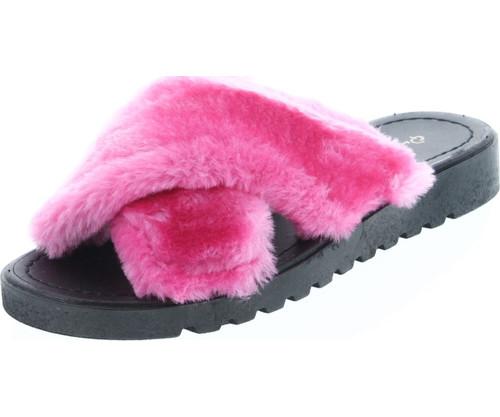 Qupid Conner-01 Women's Criss Cross Strap Slip On Slipper Platform Sandals