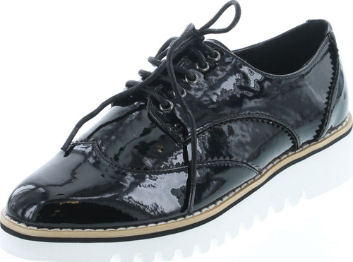 Cape Robbin Venus-1 Womens Fashion Patent Leather Lugged Sole Lace Up Platform Oxford Shoes