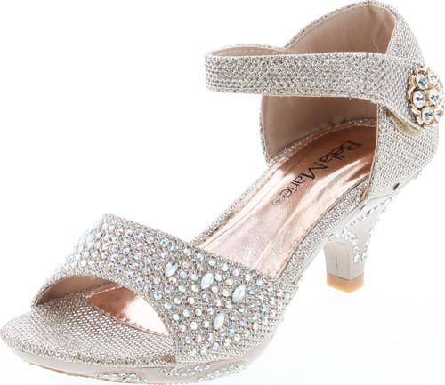 Bella Marie Girls Bailar-1K Fashion Heel Dress Sandals