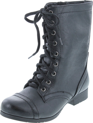 Soda Women's Relax Faux Leather Military Combat Lace Up Boots