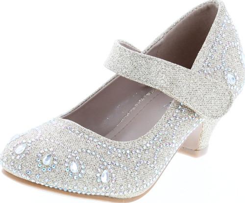Link Jemma-01K Girls Rhinestone Platform Peagent Dress Shoes