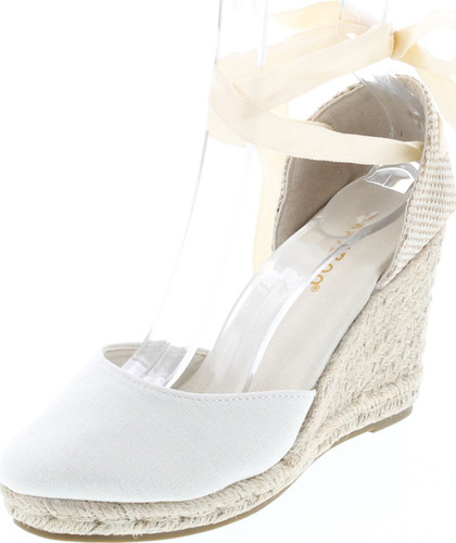 Bamboo Timeoff-02 Womens Fabric Lace Wedge Platform Sandals