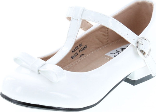 Anna Kate-5K Kids Low Heel Ankle Strap Bow T-Strap Mary-Jane Shinny Pu