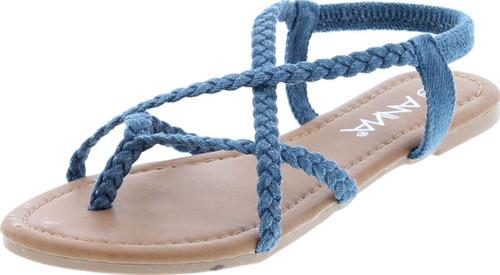 Anna Women's Razzi-11 Braided Strappy Flat Y-Strap Flip Flop Sandal